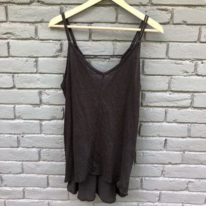 Chaser 100% Linen Charcoal Gray Strappy Tank sz L